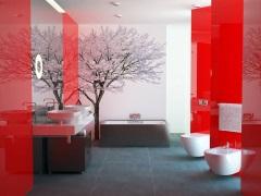 Ванная комната в бело-красной цветовой гамме