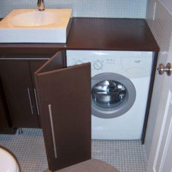 Тумба с раковиной под стиральную машину: виды, размеры и модели