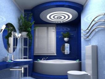 Несколько оттенков голубого в интерьере ванной комнаты
