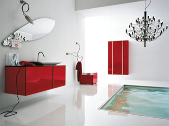 сочетание линий мебели и сантехники