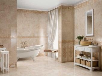 Пол из натурального камня в ванной