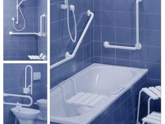 Варианты установки поручней в ванной комнате