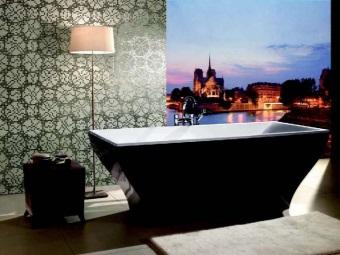 Черная квариловая ванна