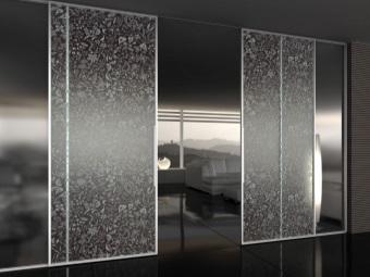 Раздвижные стеклянные двери с двумя створками