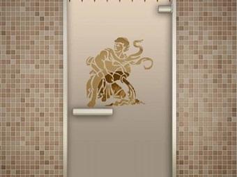 Стеклянная матовая дверь с рисунком