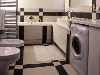 Компактное размещение стиральной машины в ванной