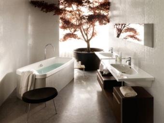 дизайн ванной комнаты с цветком