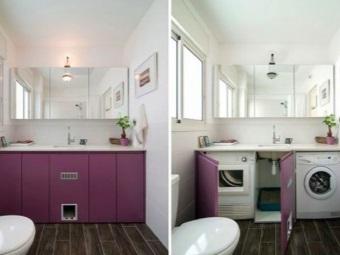 Встроенная стиральная машина за дверками в ванной комнате
