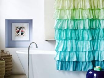 Занавеска с рюшами для ванны