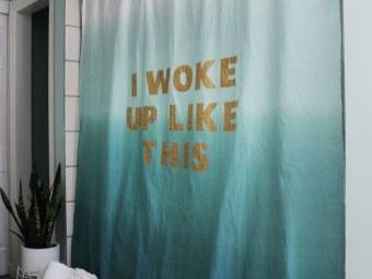 Хлопковая занавеска в ванне раскрашенная