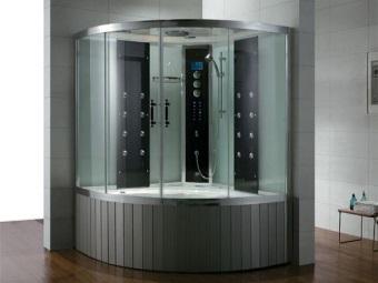 Угловая комбинированная с душем ванна