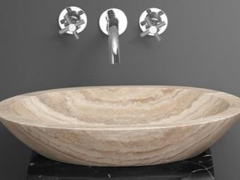 Раковины для ванной из натурального камня травертина