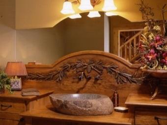 Стиль ванной с раковинами из природного камня
