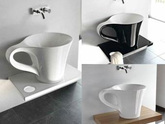 Интересный дизайн встраиваемой раковины в форме чашки для ванной комнаты