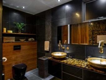Стиль ванной комнаты с черным унитазом