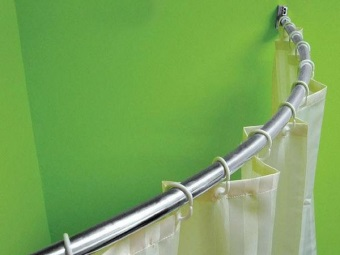 Материалы угловой штанги для шторки в ванную