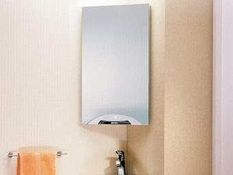 Угловой подвесной зеркало-шкаф для ванной комнаты