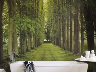 Тема природы в ванной комнате на фотообоях
