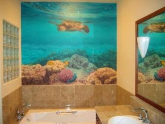 Моющиеся фотообои для ванной комнаты