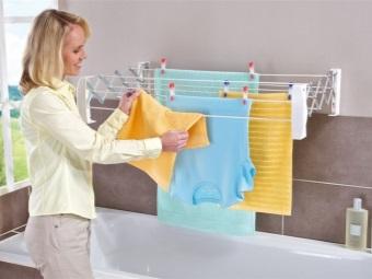 Размещение настенной сушилки для белья в ванной