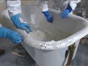 Подготовка ванны из чугуна перед покрытием эмалью