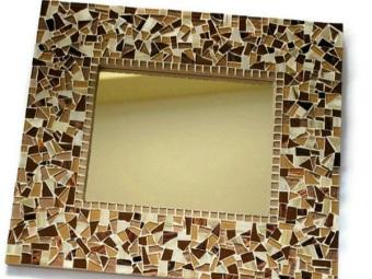 Украшение зеркала мозаикой своими руками для ванной комнаты