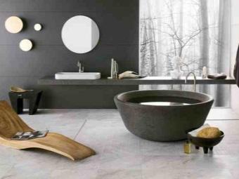 Круглая ванна из мраморной крошки