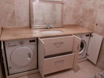 Размещение шкафа тумбы для стиральной машины в ванной комнате