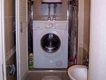 Встраиваемый шкаф для стиральной машины в ванной