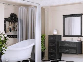Шторка на ванну на овальной штанге
