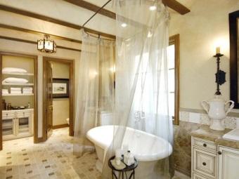 Шелковая занавеска для ванны
