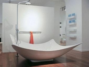 Нестандартная по форме ванна - объем воды для неё