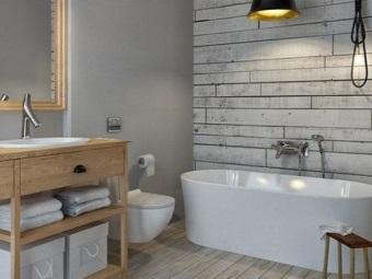 Мебель, полы и стены ванной из натурального дерева в ванной комнате в скандинавском стиле