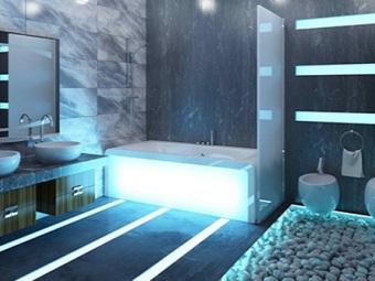 Белая ванна с подсветкой в ванной комнате в стиле хай-тек