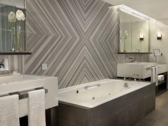 Прямоугольные навесные тумбы для ванной комнаты в стиле хай-тек