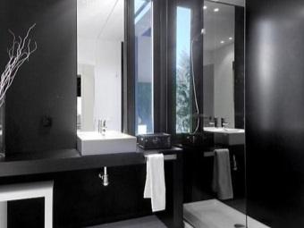 Черный и белый цвета в ванной комнате стиля хай-тек