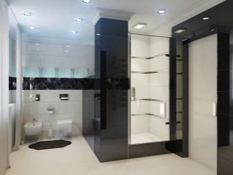 Ванная с душем и санузлом в стиле хай-тек с ярким точечным освещением