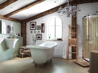 Ванная в стиле лофт с картинами, полочками и прочими аксессуарами