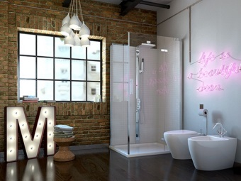 Ванная в стиле лофт с декором из стиля модерн