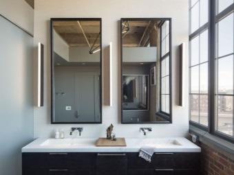 Ванная в стиле лофт с мебелью в стиле модерн