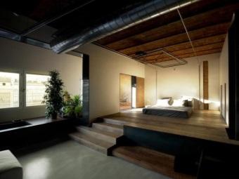 Просторная ванная комната объединенная со спальней - стиль лофт