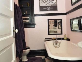 Формы ванны в ретро интерьере ванной комнате