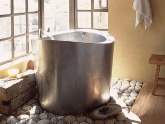 Круглая ванна из нержавеющей стали для ванной