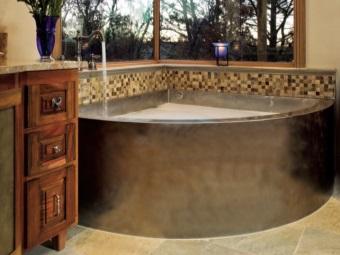 Угловая ванна из нержавеющей стали для ванной