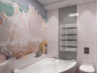 Панно из мозаики в дизайне ванной