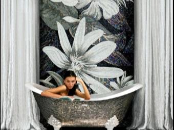 Дизайн ванной комнаты с панно из мозаики