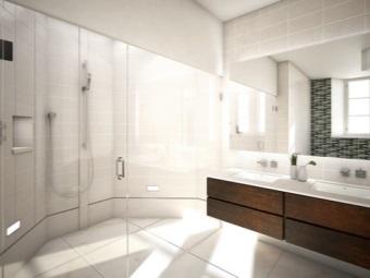Прямоугольная подвесная тумба с двумя раковинами для ванной комнаты