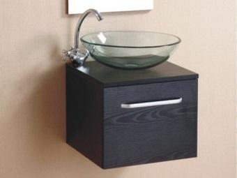 Тумба навесная черная 55 см под накладной стеклянный умывальник
