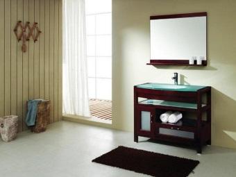 Напольная тумба для ванной со стеклянной раковиной