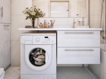 Навесная тумба с раковиной под стиральную машину